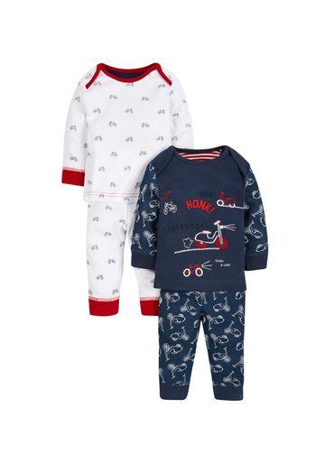 Mothercare   Boys Full Sleeves Pyjama Set Bicycle Print - Pack Of 2 - Multicolor