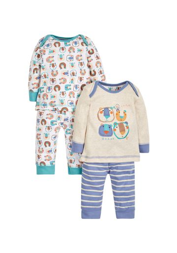 Mothercare | Boys Full Sleeves Pyjama Set Bear Patchwork - Pack Of 2 - Blue