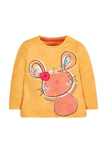 Mothercare | Girls Full Sleeves T-Shirt 3D Flower Detail - Mustard