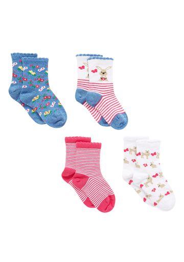 Mothercare | Girls  Socks Bunny Design - Pack Of 4 - Multicolor
