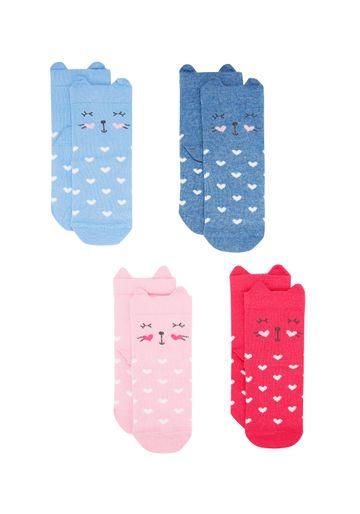 Mothercare | Girls  Socks 3D Cat Details - Pack Of 4 - Multicolor