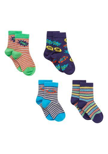 Mothercare | Boys  Socks Striped Design - Pack Of 4 - Multicolor