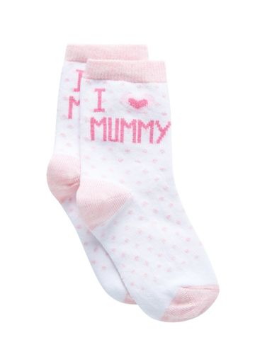 Mothercare | Girls Socks Text Print - White