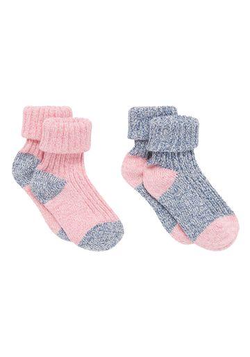 Mothercare | Girls  Socks Turndown Design - Pack Of 2 - Multicolor