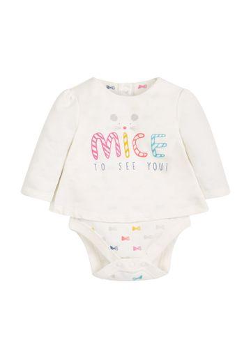Mothercare | Girls Full Sleeves Mock Bodysuit Bow Print - Cream