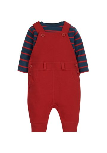 Mothercare | Boys Full Sleeves Bodysuit And Dungaree Set Striped - Red