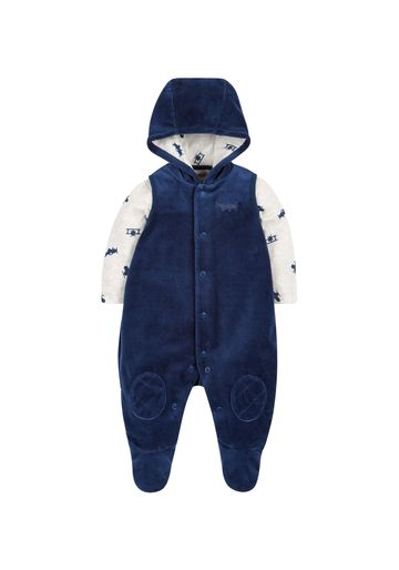 Mothercare | Boys Full Sleeves Velour Dungaree Set Hooded - Navy