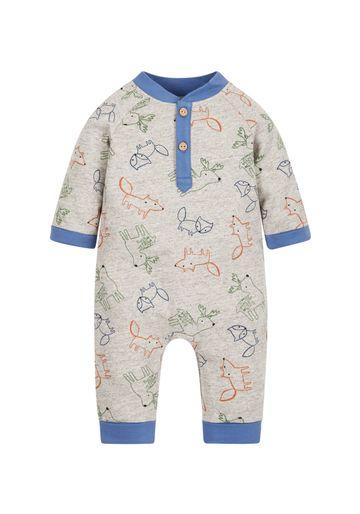 Mothercare | Boys Woodland Animal Romper - Grey