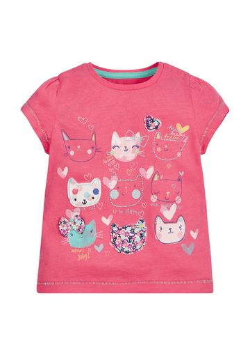 Mothercare | Girls Half Sleeves T-Shirt Cat Patchwork - Pink