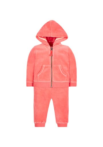 Mothercare | Girls Full Sleeves Velour Jog Set Sparkle Embroidery - Coral