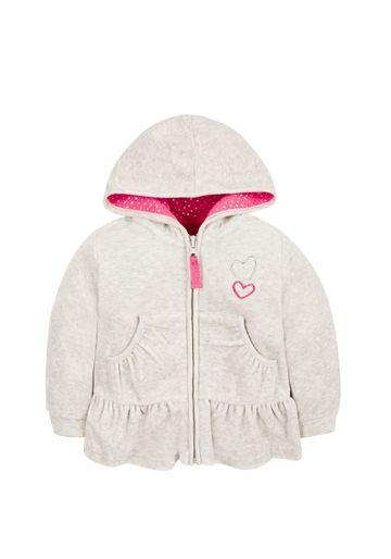 Mothercare | Girls Full Sleeves Velour Sweatshirt Hooded - Grey