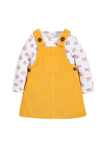 Mothercare | Girls Full Sleeves T-Shirt And Cord Dress Set Floral Print - Mustard