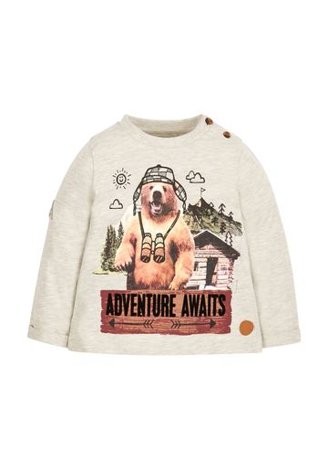 Mothercare | Boys Full Sleeves T-Shirt Bear Graphic Print - Grey