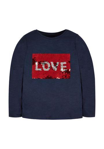 Mothercare   Girls Love Flip Sequin T-Shirt - Navy