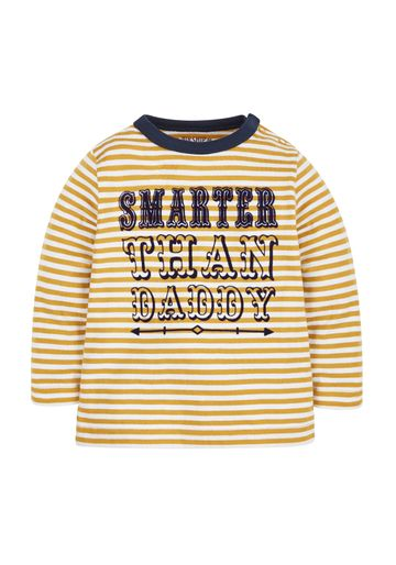 Mothercare | Boys Full Sleeves T-Shirt Striped And Text Print - Yellow