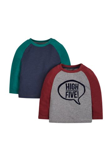 Mothercare | Boys Full Sleeves T-Shirt Text Print - Pack Of 2 - Multicolor