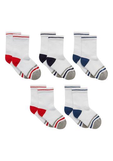Mothercare | Boys Socks Striped - Pack Of 5 - White