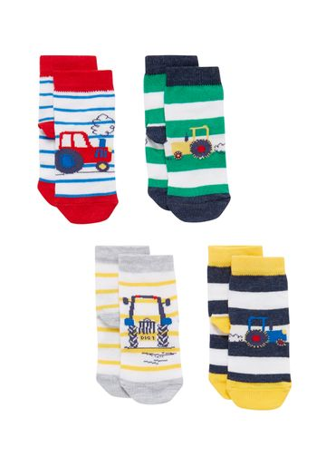 Mothercare | Boys  Socks Tractor Design - Pack Of 4 - Multicolor
