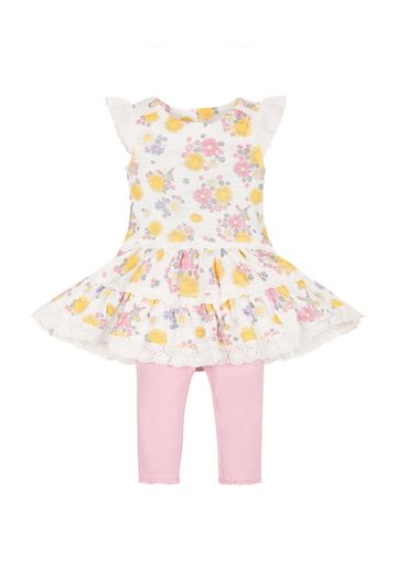 Mothercare | Girls Sun Dress And Leggings Set - White