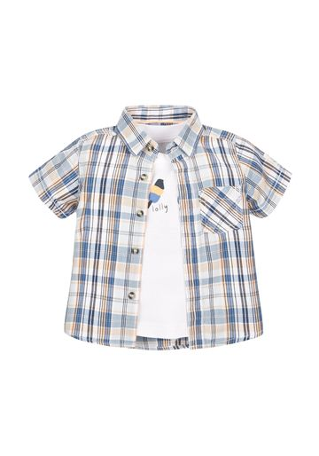 Mothercare | Boys Half Sleeves Check Shirt And Tee Set - Multicolor