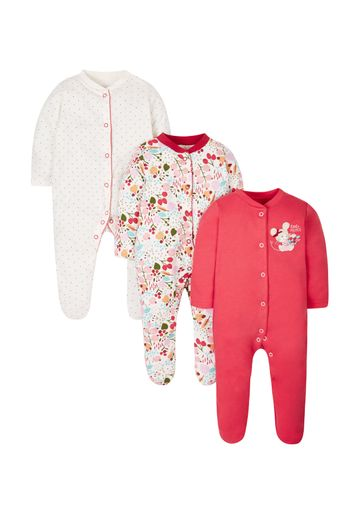 Mothercare | Autumn Leaves Sleepsuits - 3 Pack