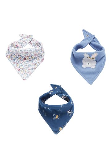 Mothercare | Girls  Bibs Bunny And Floral Print - Pack Of 3 - Blue