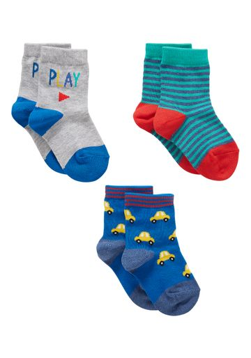 Mothercare | Boys  Socks Striped And Car Design - Pack Of 3 - Multicolor