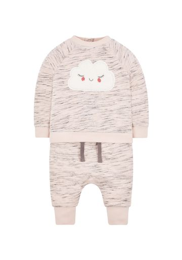 Mothercare | Girls Full Sleeves Jog Set Cloud Patchwork - Pink