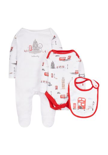 Mothercare | Unisex Full Sleeves 3 Piece Set Printed - White