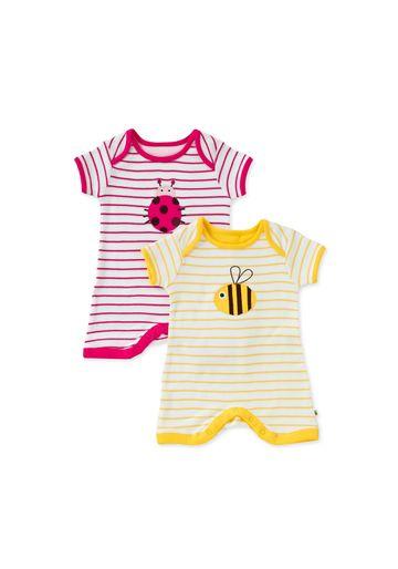 Mothercare | Girls Short Sleeve Bugs Romper - 2Pk