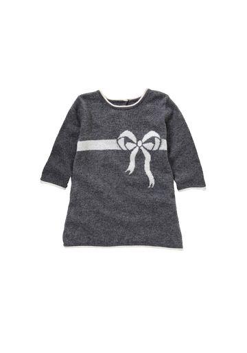 Mothercare   Girls Bow Intarsia Dress - Grey