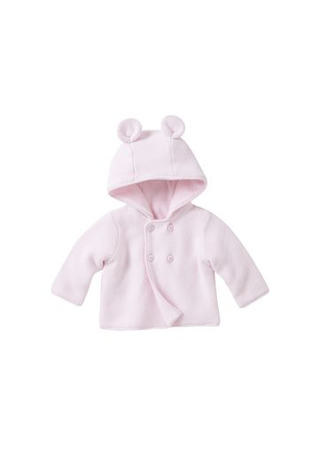 Mothercare | Girls Layette Velour Lined Hooded Cardigan - Pale Pink