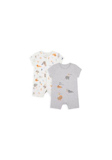 Mothercare | Boys Half Sleeves Romper Animal Print - Pack Of 2 - White Grey