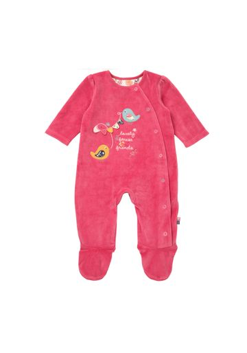 Mothercare | Girls Full Sleeves Velour Romper Bird Patchwork - Pink