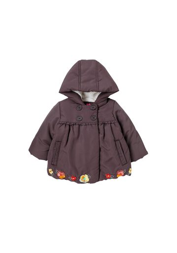 Mothercare   Girls Full Sleeves Padded Coat Floral Embroidery - Brown
