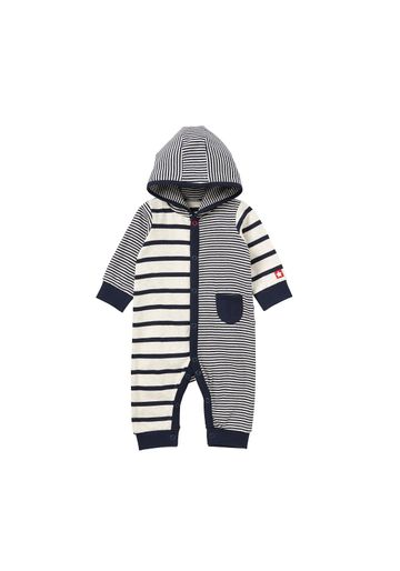 Mothercare | Boys Full Sleeves Hooded Romper Striped - Navy