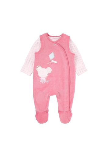 Mothercare | Girls Full Sleeves Velour Dungaree Set Bow Detail - Pink