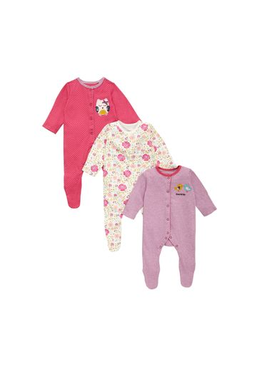 Mothercare | Girls Full Sleeves Sleepsuit Owl Patchwork - Pack Of 3 - Multicolor