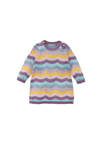 Mothercare | Girls Full Sleeves Knitted Dress 3D Flower Detail - Purple