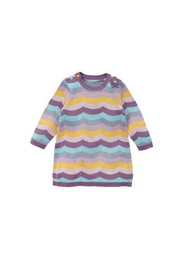 Mothercare | Girls Full Sleeves Knitted Dress 3D Flower Detail - Purple