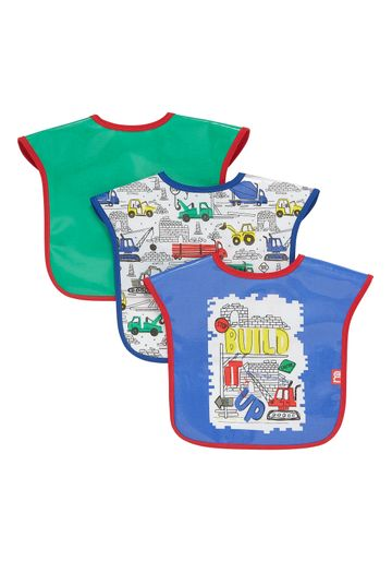 Mothercare | Mothercare Build It Up Toddler Bibs Pack of 3 Mutil