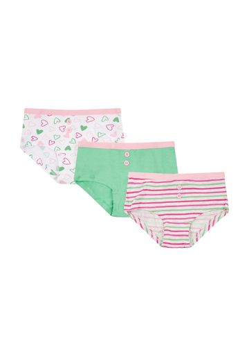 Mothercare | Girls Briefs Striped And Heart Print - Pack Of 3 - Multicolor
