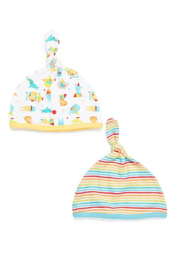 Mothercare | Unisex  Hats Printed And Striped - Pack Of 2 - Multicolor