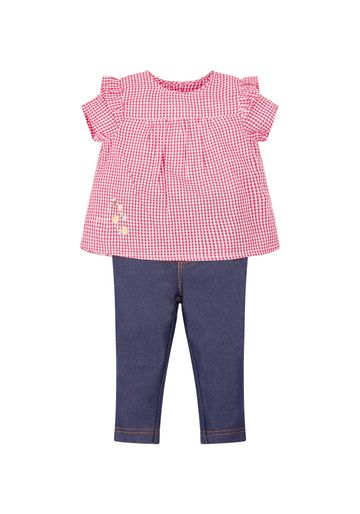 Mothercare | Girls Gingham Blouse And Jeggings Set - Red