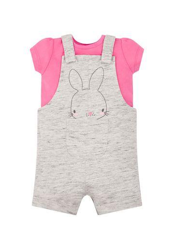 Mothercare | Girls Half Sleeves Dungaree Set Bunny Embroidery - Grey