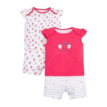 Mothercare | White and Pink Printed Nightsuit - Pack of 2