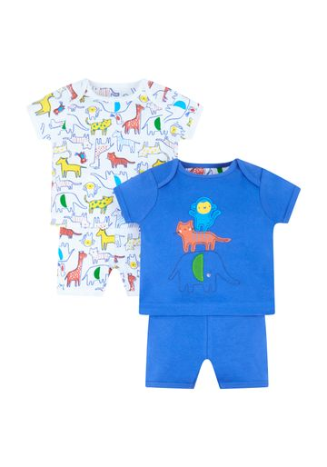 Mothercare | White and Blue Printed Nightsuit - Pack of 2