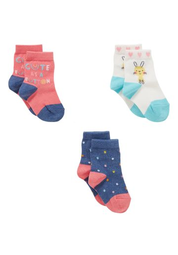 Mothercare | Girls  Socks Text And Polka Dot Design - Pack Of 3 - Multicolor