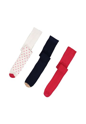 Mothercare | Girls Pink And Navy Fashion Tights - 3 Pack - Multicolor