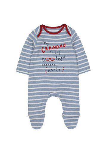 Mothercare | Boys Full Sleeves Sleepsuit Striped Text Print - Blue